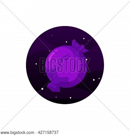Sweet Candy-planet With Chocolate, Cream, Cookie Or Caramel In Purple Wrapper.
