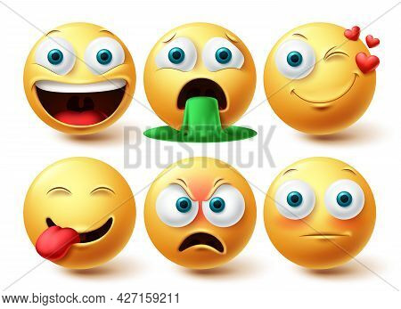 Emoji Vector Set. Emojis Emoticon Happy, Winking And Angry Face Collection Facial Expressions Isolat