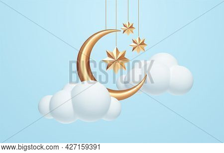 Crescent Moon, Golden Stars And White Clouds 3d Style Isolated On Blue Background. Dream, Lullaby, D