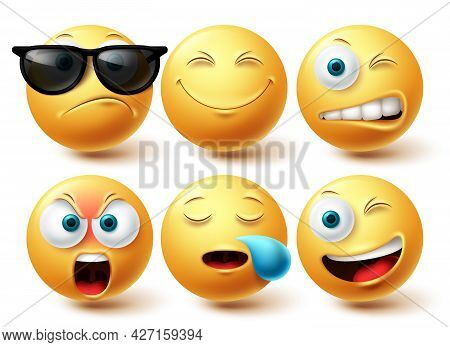 Emoji Cool Emoji Vector Set. Emojis Emoticon Yellow Icon Collection Isolated In White Background For