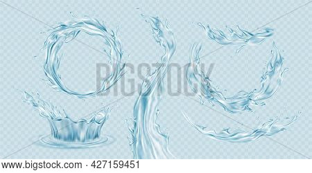 Set Of Realistic Transparent Water Splashes, Water Crown, Waves, Drops Isolated On A Light Blue Tran