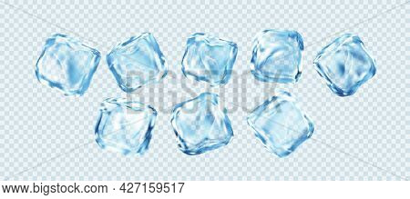 Set Of Realistic Ice Cubes Isolated On White Transparent Background. Real Transparent Ice Effect. Ve