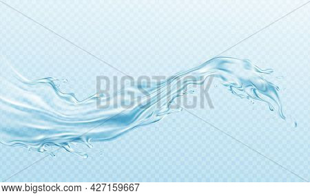 Realistic Illustration Water Splash Isolated On Transparent Background. Real Transparent Water Effec