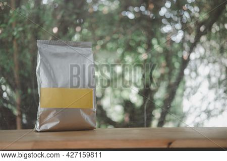 Foil Plastic Paper Bag Front View For Tea, Coffee And Grain Packaging With Empty Label. Retail Shopp