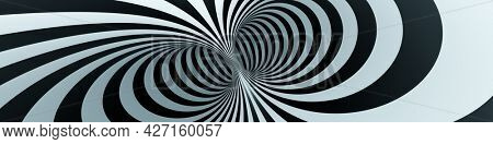 optical illusion black and white tunnel background banner. 3D illustration
