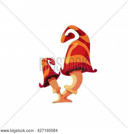 Funny Fairy Tale Fantasy Mushroom Or Toadstool Flat Vector Illustration Isolated.