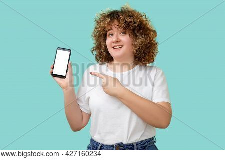 App Promotion. Phone Display. Body Positive. Calorie Counter. Happy Smiling Overweight Woman With Cu
