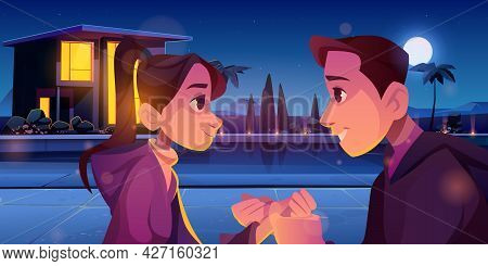 Summer Love, Couple Romantic Relations. Loving Man And Woman Holding Hands At Night. Young People Da