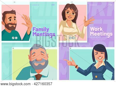 Family Or Work Online Meeting Cartoon Posters. People Group Conference, Relatives, Business Characte