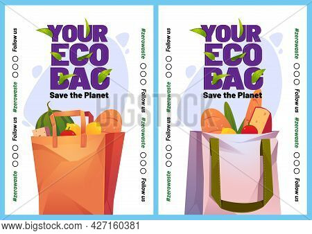 Your Eco Bag Cartoon Posters Or Mobile Onboard Screens. Paper And Cotton Shopping Packs With Grocery
