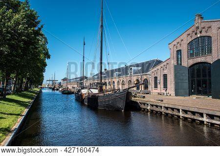 Den Helder, The Netherlands. July 2021. Old Sailing Boats In The Harbor Of Den Helder, The Netherlan