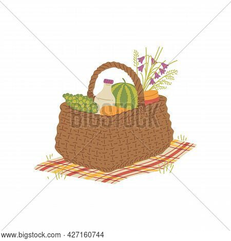 Woven Picnic Basket With Food And Snacks, Flat Vector Illustration Isolated.