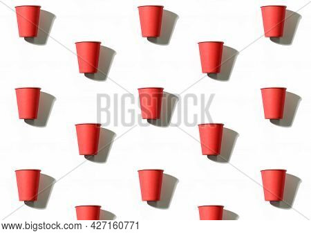 Utensils Background. Cups Pattern. Picnic Leisure. Coffee To Go. Collection Of Red Symmetrical Reusa