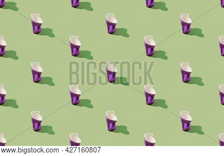 Plastic Pattern Background. Eco Issues. Global Pollution. Collection Of Purple Symmetrical Reusable