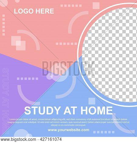 Study At Home Social Media Post Banner Template. Editable For So Web Banner For Social Media.vector
