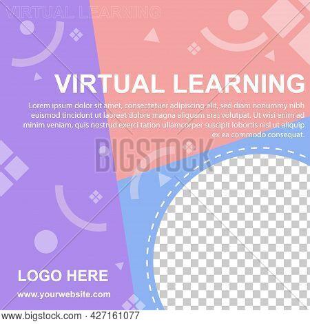 Virtual Learning Social Media Post Banner Template. Editable For So Web Banner For Social Media.vect