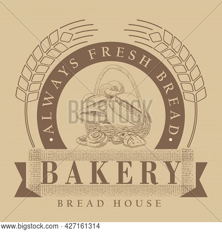 A Set Of Bread In The Basket. A Loaf, A Baguette And Fresh Pastries In The Basket. The Concept Of A