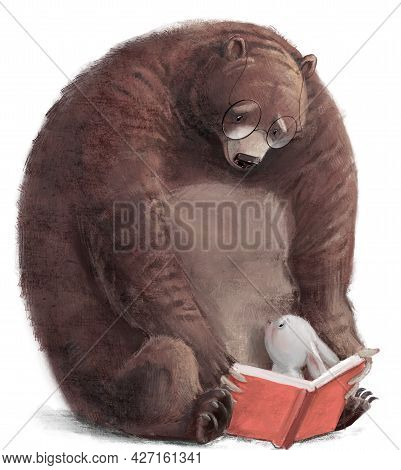 Big Brown Bear With Little Hare And Book