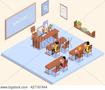 School Education Isometric Teacher And Pupil At Lesson. Learning Process In Music Classroom. High Sc