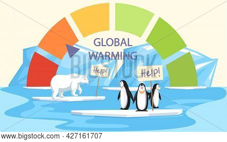 Penguins And Polar Bear Are Very Sad About Melting Glaciers. Animals During Global Warming Concept.