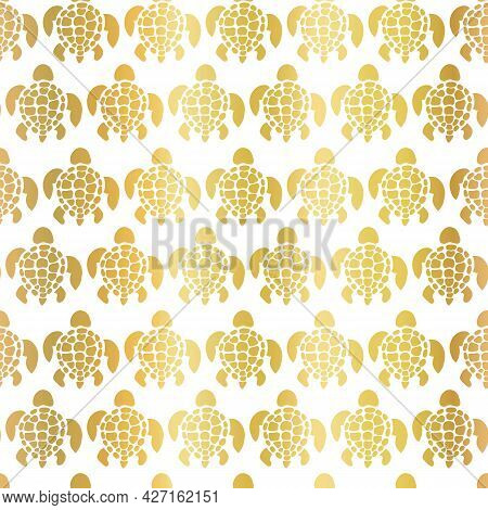 Sea Turtles Pattern Gold Foil Seamless Vector Background. Tortoise Silhouettes Repeating Pattern Met