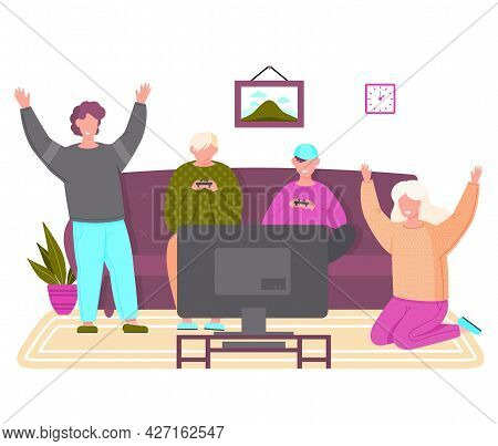 Happy Friends Play Video Games. Young Men Gaming With Gamepad Controller, Holding Joystick In Hands,