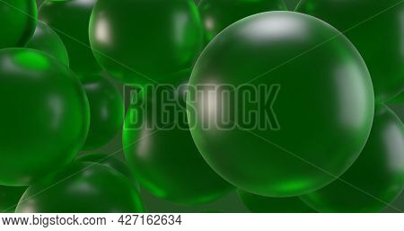 Green Translucent Spheres For The Background 3d-rendering