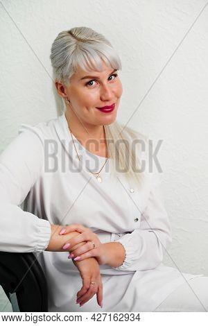 Portrait Of Successful Professional Doctor Cosmetologist Dermatologist Woman In Beauty Salon Smiling