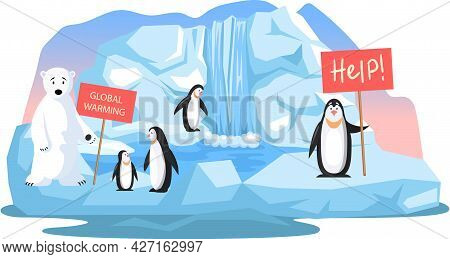 Wild Animals Living In Poles Suffering From Global Warming. Cute Penguins And Polar Bear Ask For Hel