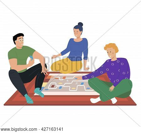 Friends Playing Games, Map With Cards, Home Party Challenge And Strategy Concept. Cartoon Characters