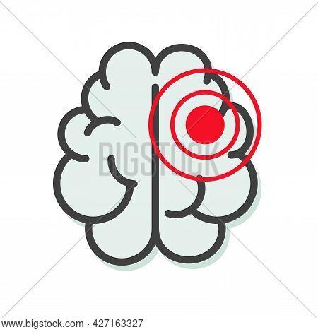 Brain Tumor Or Cancer Illness Icon Or Migraine Disease Vector Line Outline Art Illustration, Stroke