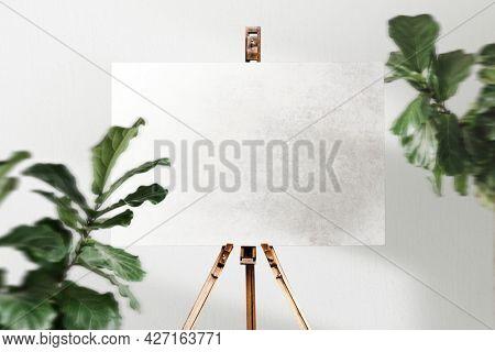 Blank signboard on an easel