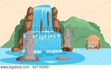 Rock, Stone Sculptures, Tropical River And Waterfall In Beautiful Mountains Landscape With Plants, C