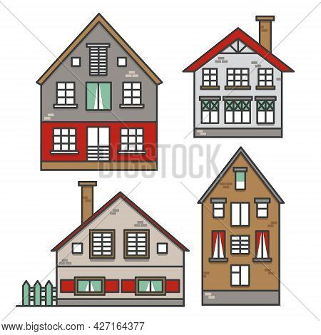 Set Of Traditional European Style Houses In Old Town. Neighborhood Suburban. Colorful Traditional St