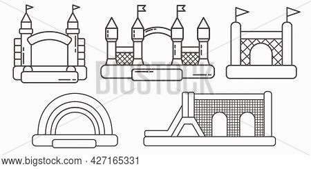 Set Of Bouncy Inflatable Castle. Tower And Equipment For Child Playground. Vector Outline Illustrati