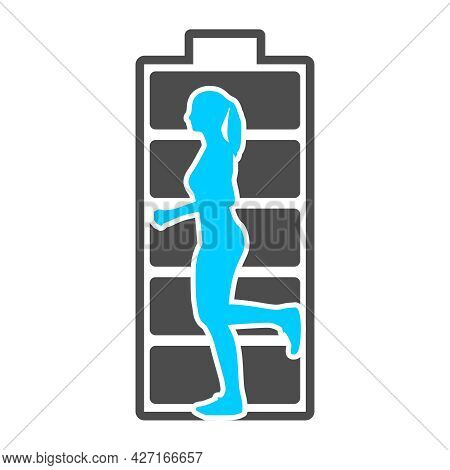 Running Lady Silhouette With High Full Level Energy Battery
