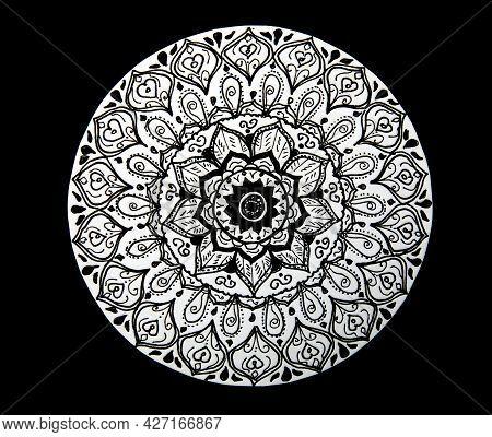 Flower Mandala Hand Painted Black And White