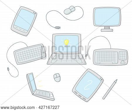 A Set Of Computer Equipment. Monitor, Keyboard And Mouse. Computer Tablets And Laptops.colored Isola