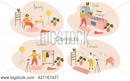 Set Of Female Bloggers And Vloggers Characters Making Internet Content. Women Creating Video For The