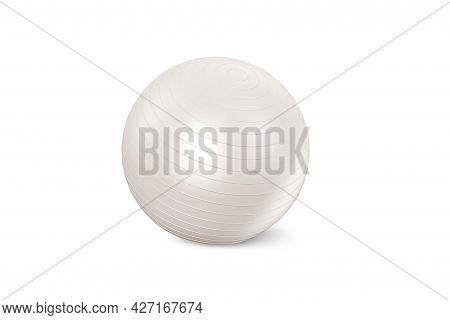 White Fitness Ball Isolated On White Background. Pilates Training Ball. Fitball 3d Rendering Model F