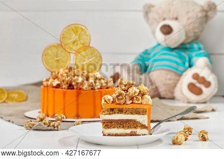 Carrot-orange Sponge Cake With Mascarpone Cream And Salted Caramel