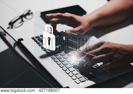 Internet Network Security Privacy Protection Concept. Information Security And Encryption, Secure Ac