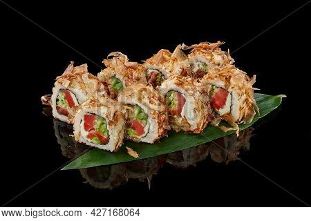 Sushi Rolls With Bonito Flakes, Tuna, Cheese Cream And Cucumber