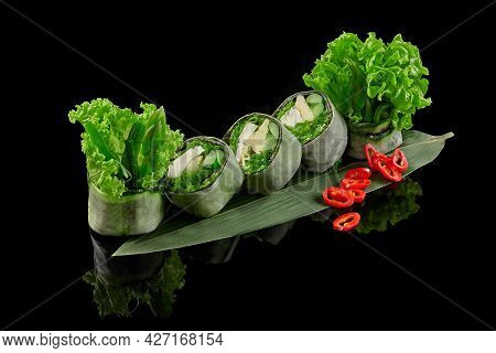 Green Roll In Mamenori With Tofu, Wakame, Asparagus, Avocado, Cucumber, Lettuce