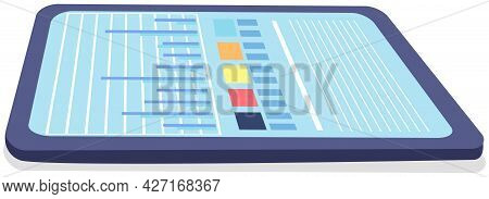 Blue Tablet With Diagram, Color Table And Lines On Screen. Modern Tool For Work On White Background.