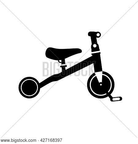 Kids Bicycle Black Silhouette. Black Balance Bike Icon, Playing Game Toy. Vector Illustration