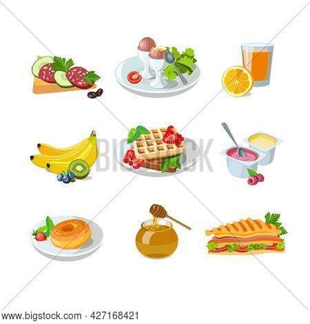 Classic Hotel Breakfast Set With Waffles, Orange Juice, Sandwich And Donut. Menu Poster With Eggs, F