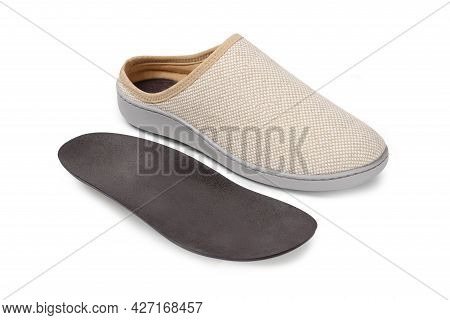 Pair Of Blank Soft Beige Home Slippers, Design Mockup. Hotel Bath Slippers Top View Isolated On Whit