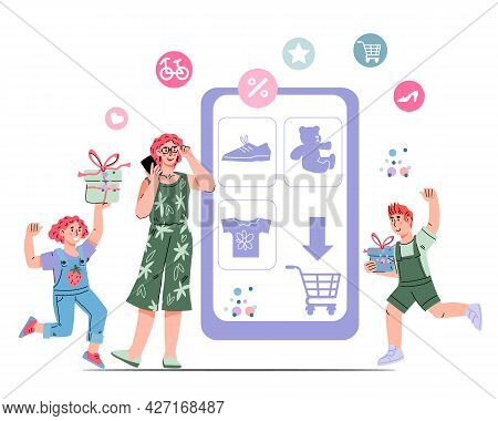 Happy Family Buying Things Online, Flat Cartoon Vector Illustration Isolated On White Background. On