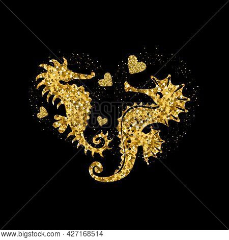 Seahorses Golden Glitter Icon With Glitter Glow And Hearts. Beautiful Golden Silhouette On Black. Fo